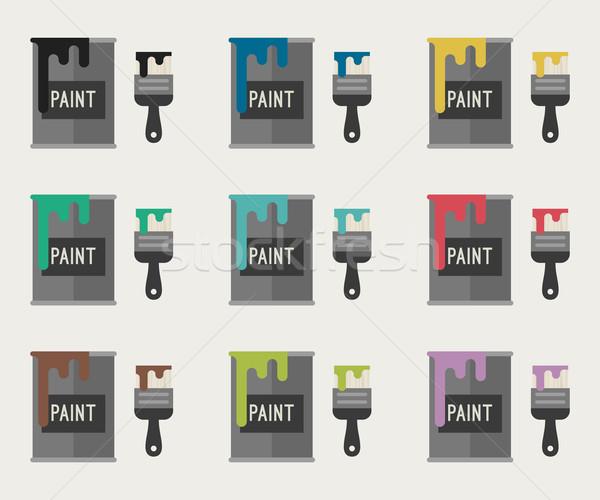 Verf iconen verschillend kleuren teken kleur Stockfoto © biv