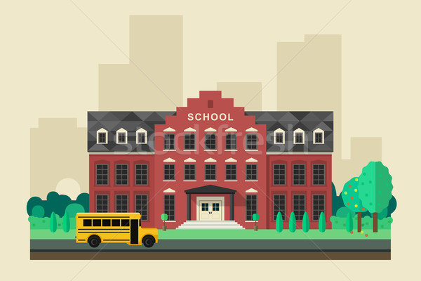 School building with yellow bus Stock photo © biv