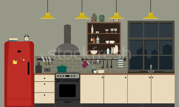 Mutfak iç stil mobilya vektör afiş Stok fotoğraf © biv