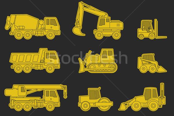 Bouw machines iconen lijn Geel silhouet Stockfoto © biv