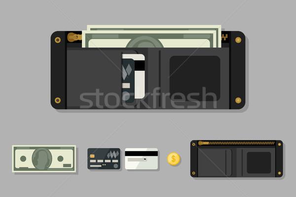 бумажник черный деньги стиль иконки монеты Сток-фото © biv