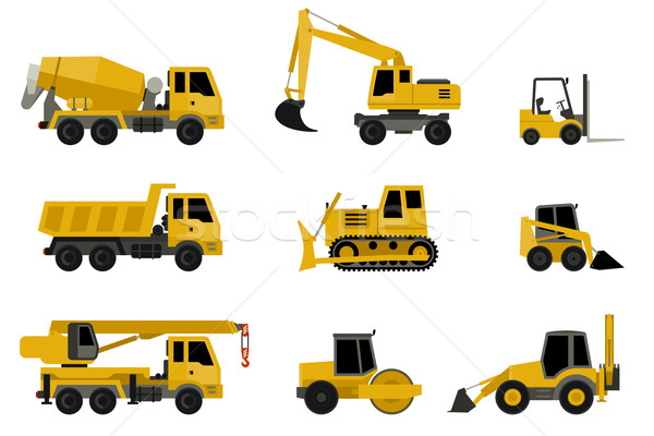 Stock photo: Construction machines icons.