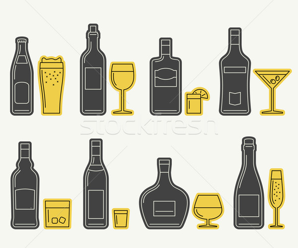 Bottles and glasses line icons Stock photo © biv