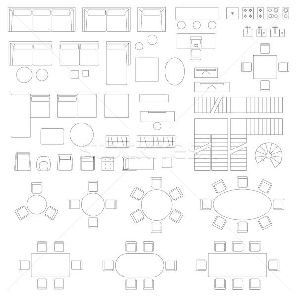 Stok fotoğraf: Mobilya · ayarlamak · simgeler · oturma · odası · iç · elemanları