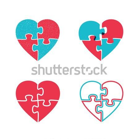 Herzen Symbole Puzzle vier Form Herz Stock foto © biv