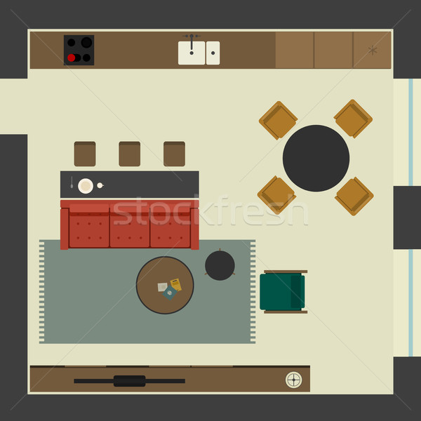 Living room in flat style Stock photo © biv