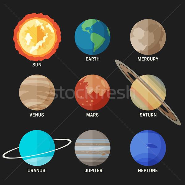 Bolygók naprendszer stílus vektor egyszerű ikonok Stock fotó © biv