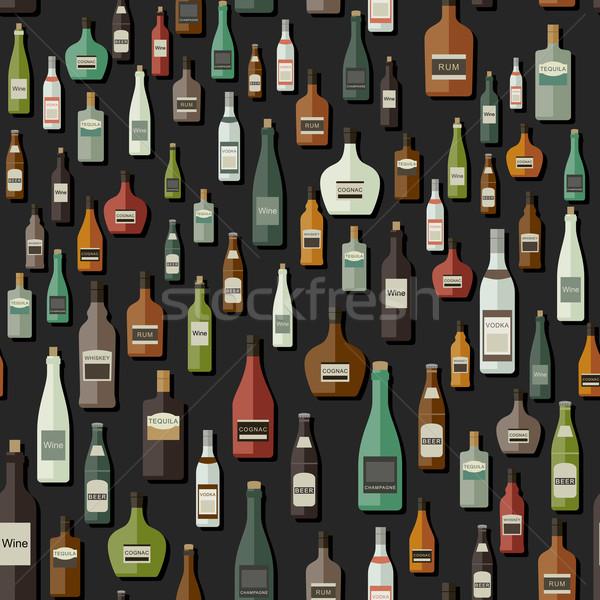 Foto stock: Garrafas · vetor · conjunto · papel · cerveja