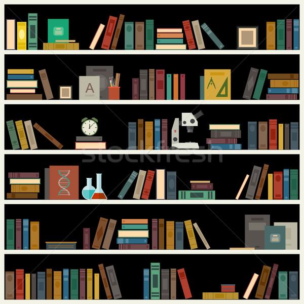 Prateleira de livros livros estilo vetor biblioteca bandeira Foto stock © biv