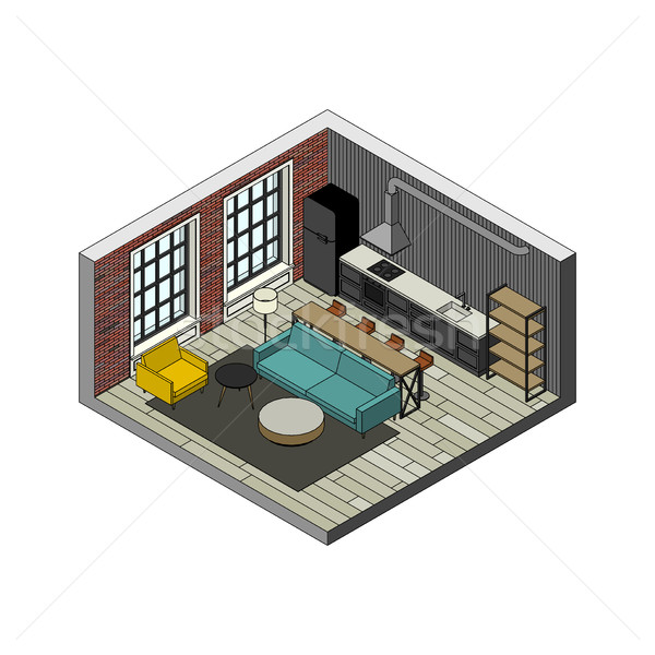 リビングルーム インテリア アイソメトリック 表示 実例 ロフト ストックフォト © biv