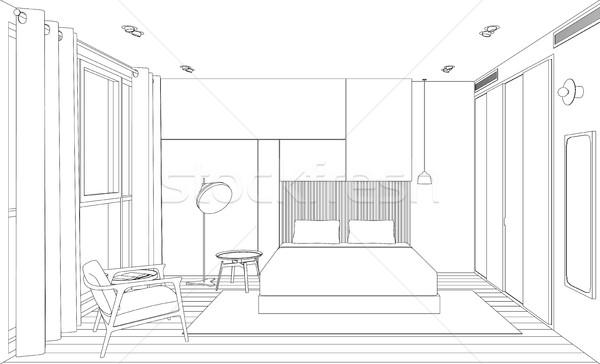 Camera · da · letto · line · interni · sketch · prospettiva · view ...