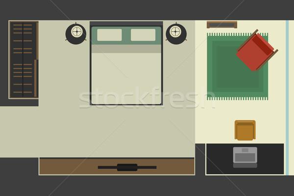 Slaapkamer stijl top werkplek huis Stockfoto © biv