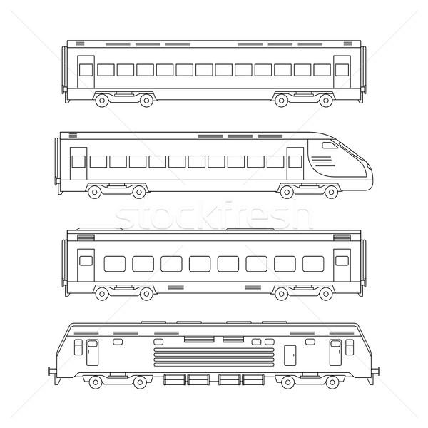 Trenes línea dibujo blanco delgado ilustración Foto stock © biv