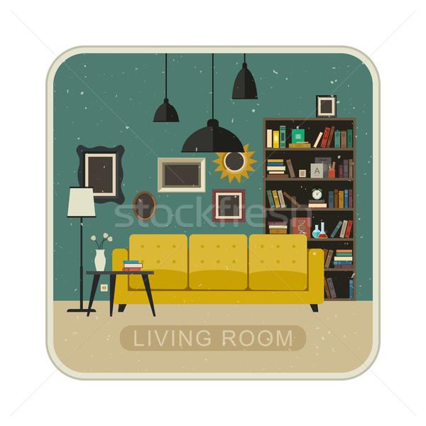 リビングルーム グランジ インテリア 家具 クロック 光 ストックフォト © biv