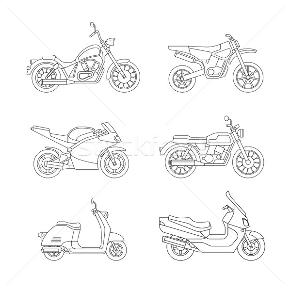 Motorcycle and scooter line icons set. Stock photo © biv