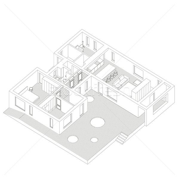 アイソメトリック 家 行 実例 建物 ストックフォト © biv