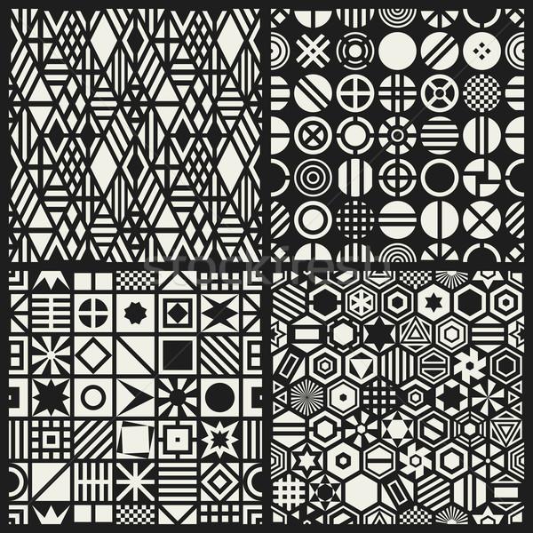 ストックフォト: 幾何学的な · セット · 白 · 正方形 · デザイン