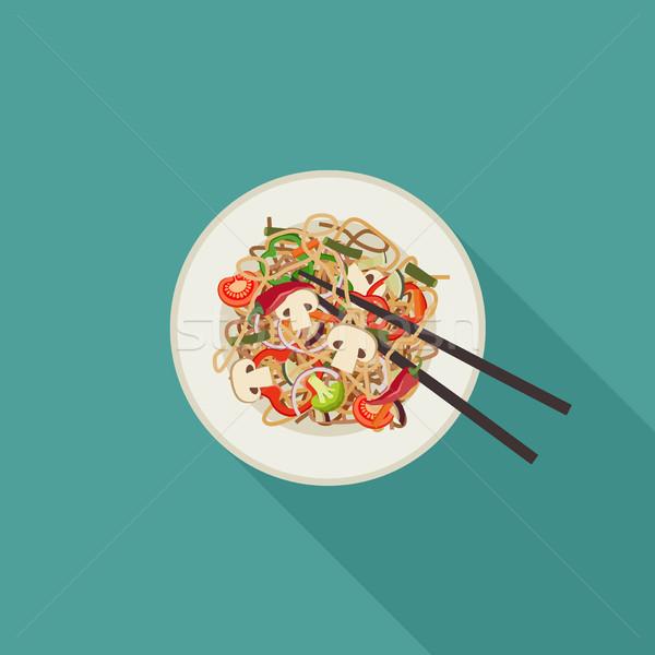 麺 プレート キノコ ベクトル 実例 長い ストックフォト © biv