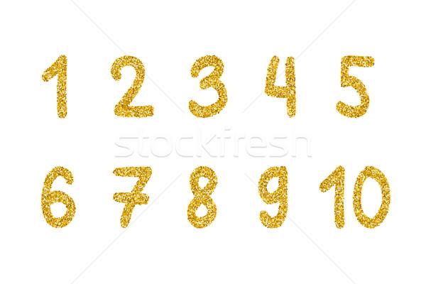 Or glitter nombre vecteur chiffres or Photo stock © biv