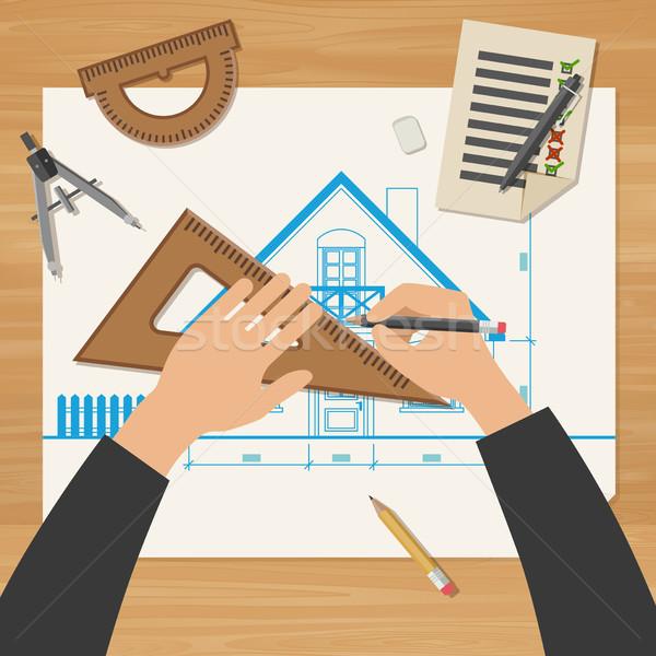 Foto stock: Arquiteto · trabalhar · simples · blueprints · profissional · desenho