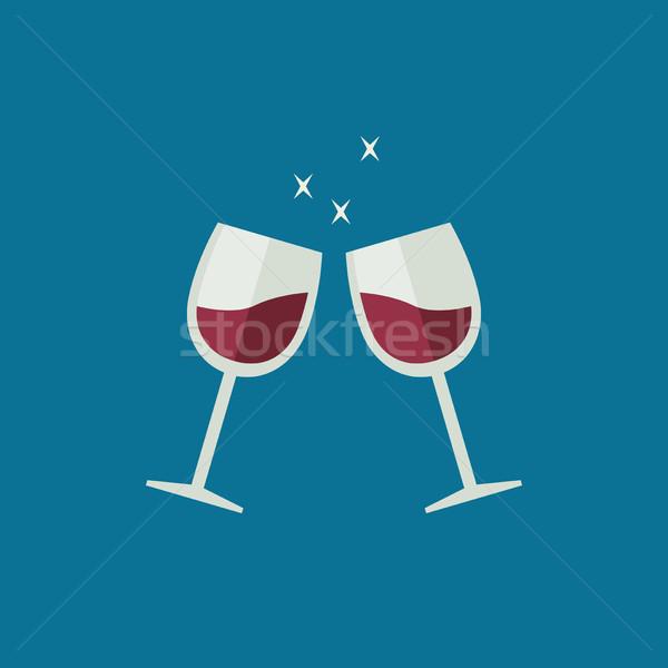Clink wine glasses Stock photo © biv