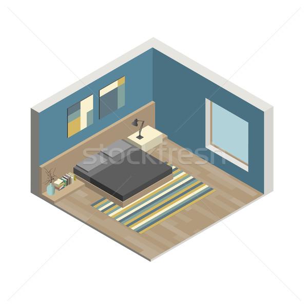 Slaapkamer illustratie interieur isometrische huis Stockfoto © biv