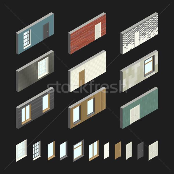 壁 パターン ドア 窓 アイソメトリック 実例 ストックフォト © biv