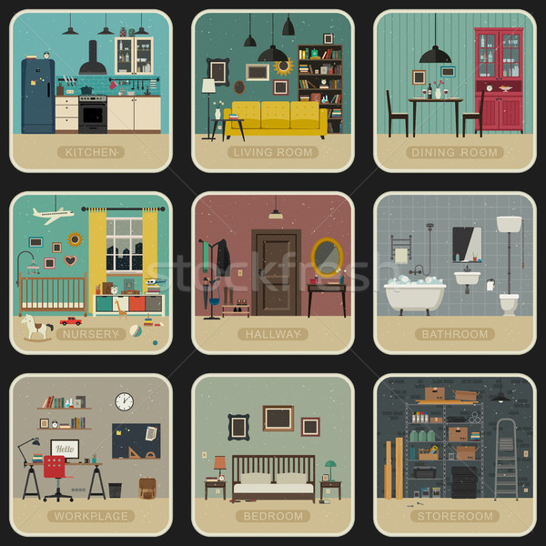 Intérieur chambres style vintage illustrations Photo stock © biv