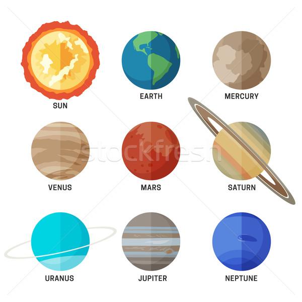 Bolygók naprendszer ikon szett fő- földgömb nap Stock fotó © biv