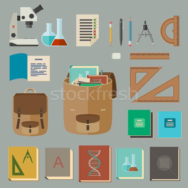 Onderwijs iconen stijl vector school uitrusting Stockfoto © biv