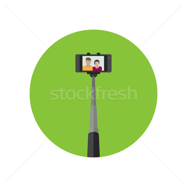 Selfie icon with monopod . Stock photo © biv