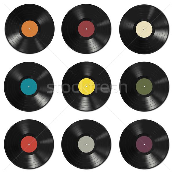 Vinile record pattern colorato etichette bianco Foto d'archivio © biv