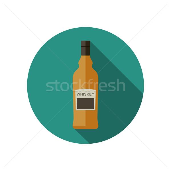 Foto stock: Whisky · icono · estilo · vector · botella · fiesta