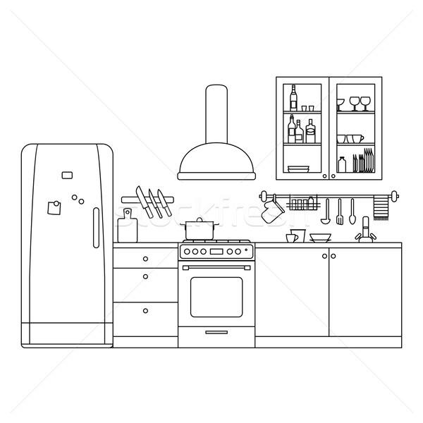 キッチン 行 インテリア 家具 ベクトル ストックフォト © biv