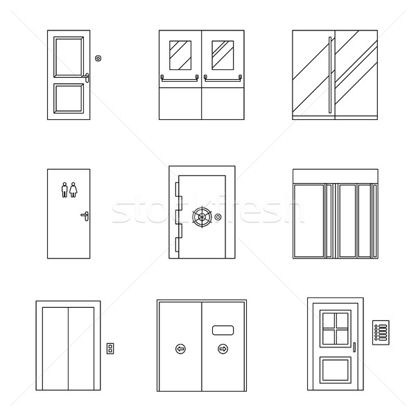 ドア 行 アイコン 異なる ベクトル 薄い ストックフォト © biv