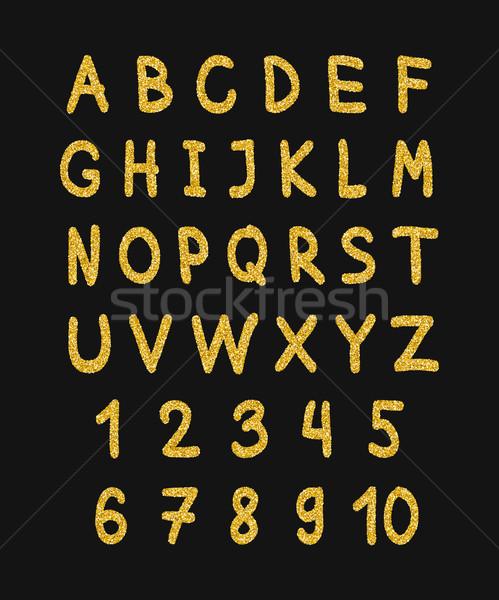 Golden glitter alphabet Stock photo © biv