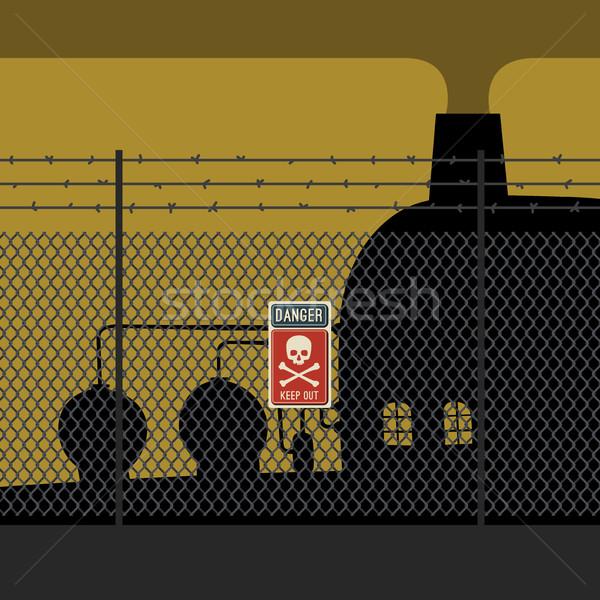 опасность забор завода знак череп фон Сток-фото © biv