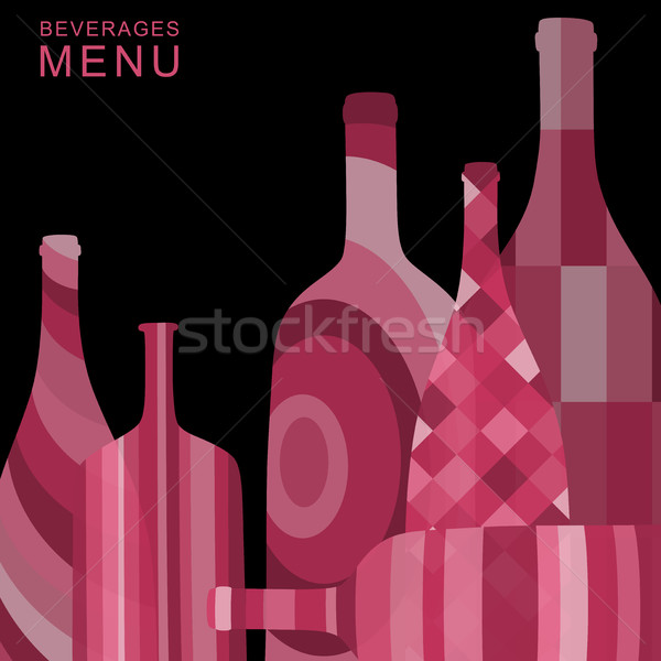 Alcoholic background with abstract bottles Stock photo © biv