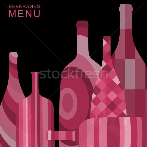 Resumen botellas bebidas menú vidrio restaurante Foto stock © biv