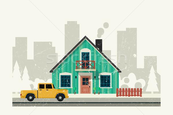家 グランジ 現代 車 建物 ドア ストックフォト © biv