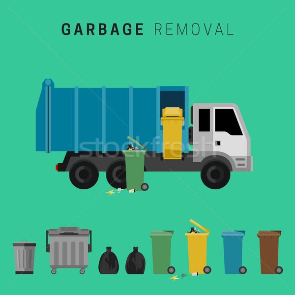 мусора грузовика отходов баннер бизнеса автомобилей Сток-фото © biv