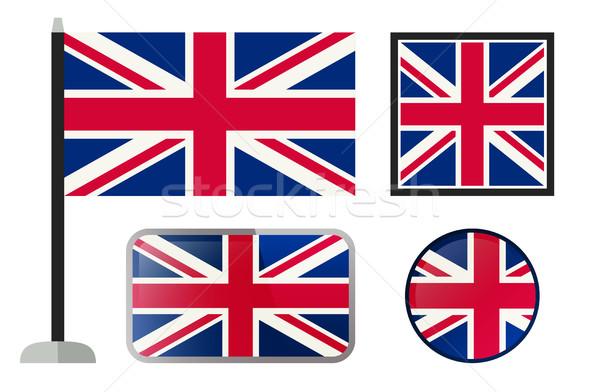 İngiliz bayrağı simgeler İngilizler bayraklar basit vektör Stok fotoğraf © biv