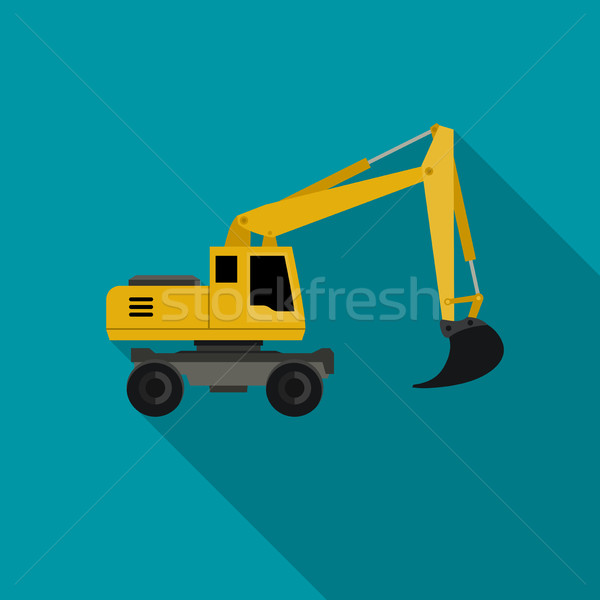 Excavator flat icon Stock photo © biv