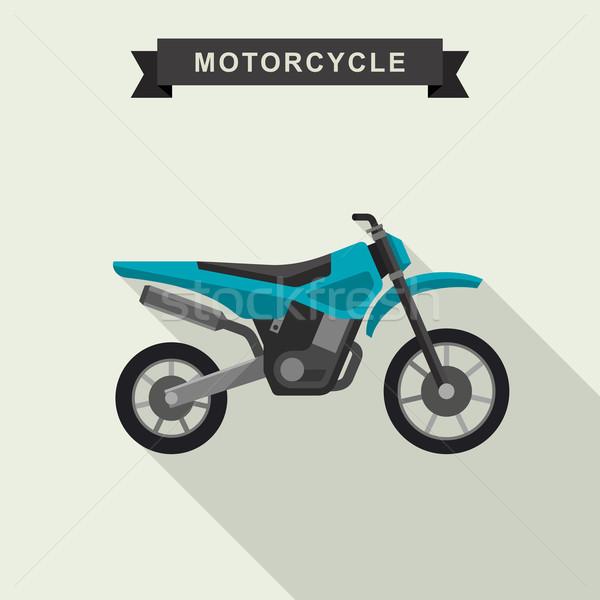 Bisiklet motocross spor imzalamak mavi seyahat Stok fotoğraf © biv