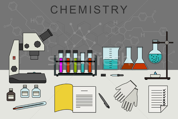 Chemistry banner with chemical equipment. Stock photo © biv