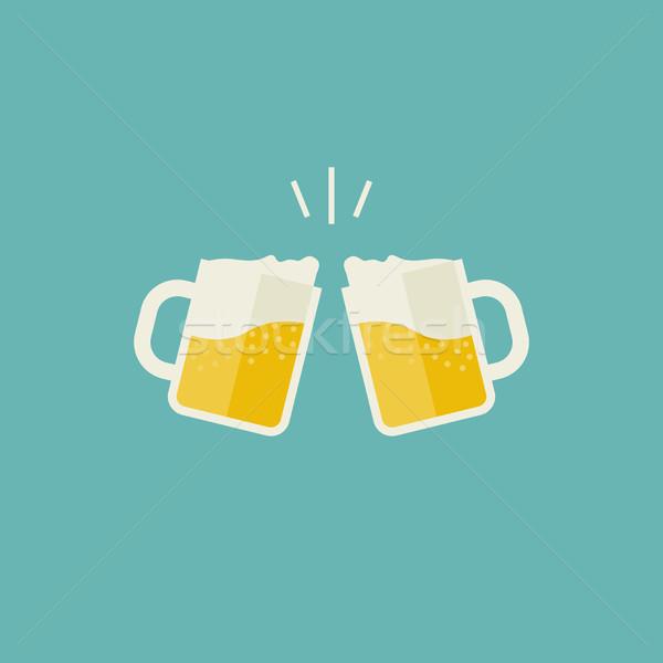 пива иконки очки алкогольные напитки вечеринка фон Сток-фото © biv
