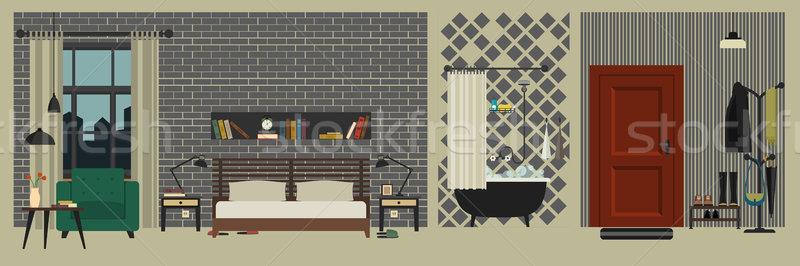 アパート インテリア 家具 スタイル ベクトル ホール ストックフォト © biv
