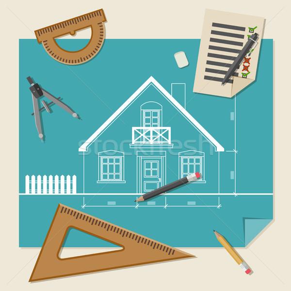 Arquitetônico desenho equipamento simples blueprints profissional Foto stock © biv