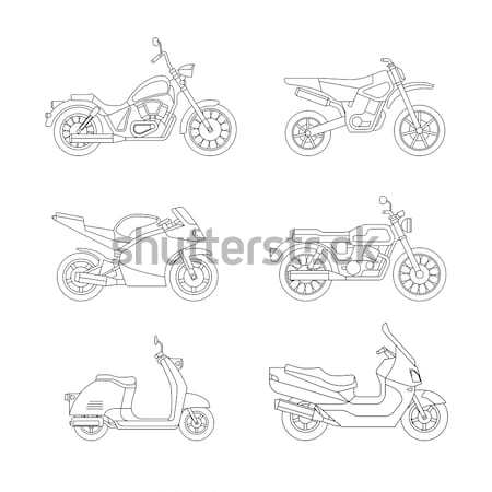 Motorcycles and scooters black silhouettes Stock photo © biv