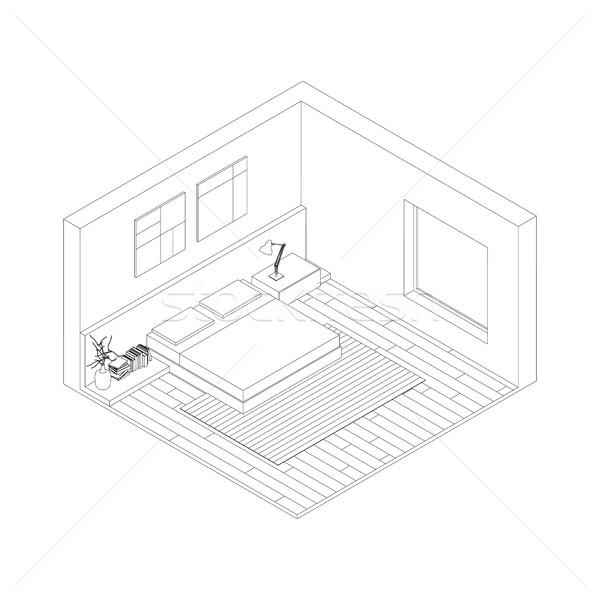 Slaapkamer · lijn · tekening · interieur · isometrische - vector ...